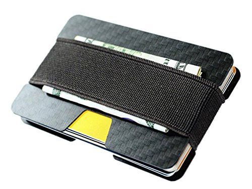 Carbon Fiber RFID Blocking Money Clip Credit Business Card Holder Slim Wallets for Men (Black) (Rfid Wallet Carbon compare prices)