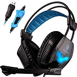 SADES A30S Pro Stereo USB Gaming Vibration Headset Headphone with Hifi Mic Buit-in blue lighting for PC Gamer (Black)