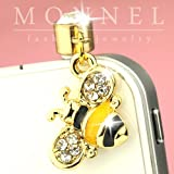IP64 Pretty Yellow and Black Crystal Bee Gold Tone Jack Plug For iphone4/4s