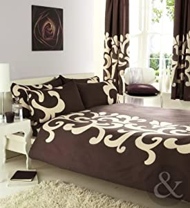 Complete bedroom set luxury cotton blend duvet quilt cover curtains bed sets chocolate brown for Complete bedroom sets with curtains