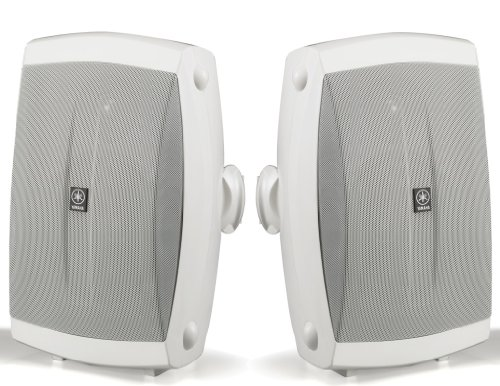 "Yamaha All Weather Indoor & Outdoor Wall Mountable Natural Sound 120 Watt 2-Way Acoustic Suspension Speakers (Set Of 2) White With 5"" High Compliance Woofer, 1/2"" Pei Dome Tweeter & Wide Frequency Response - Compatible With All Audio / Video Receivers, Co"