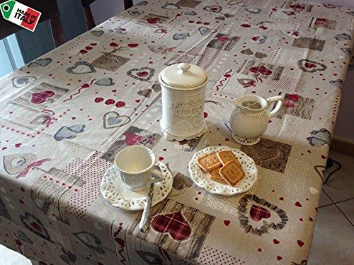 Tovaglia cucina soggiorno holly cuori shabby chic for Cucina soggiorno shabby