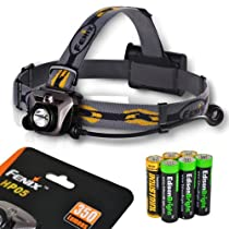 Fenix HP05 350 Lumen CREE XP-G R5 LED Headlamp (Iron Grey) with six AA Alkaline batteries including three EdisonBright AA batteries