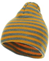 Trendy Striped Beanie - Yellow Grey