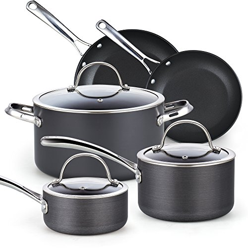 Cooks Standard 02487 8 Piece Hard Anodize Nonstick Cookware Set, Black