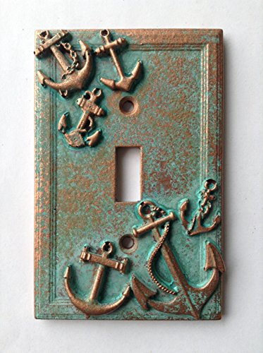 Anchors (Steampunk) Light Switch Cover - Aged Copper/Patina or Stone (Patina) (Custom Light Switch Cover compare prices)