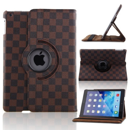 Creeracity New Lv Grid Pattern Auto Sleep/Wake Function 360 Degree Rotating Smart Case Cover For Ipad Air 2 Gen Generation - (Supports Auto Wake/Sleep Function) With Free Stylus -Black