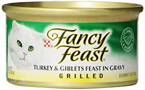 Fancy Feast Grilled Turkey and Gilbets Feast Cat Food, 3-Ounce (Pack of 24)