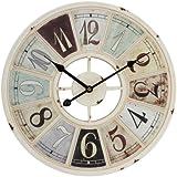Watching Clocks Horloge murale en métal Style antique coloré avec centre ajouré Crème