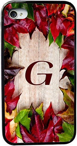Rikki Knighttm Rikki Knight - Letter G Monogram Initial Rustic Fall Leaves On Wood Flooring Background Design Iphone 4 & 4S Case Cover (Black Rubber With Bumper Protection) For Apple Iphone 4 & 4S front-589340