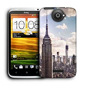 Snoogg Building And Cloud Printed Protective Phone Back Case Cover For HTC One X