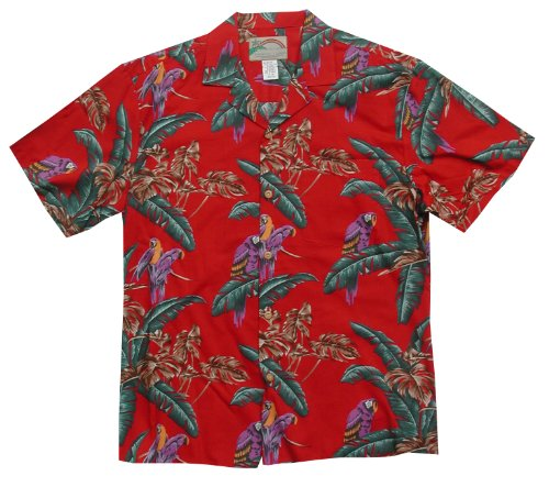 Men's Jungle Bird Tom Selleck Magnum PI Hawaiian Aloha Cotton Shirt in Red  XL Picture