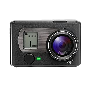 PQI Air Cam - Videocámara deportiva sumergible 5m (5 Mp, 1080p Full HD, compatible con tarjeta SD) color negro