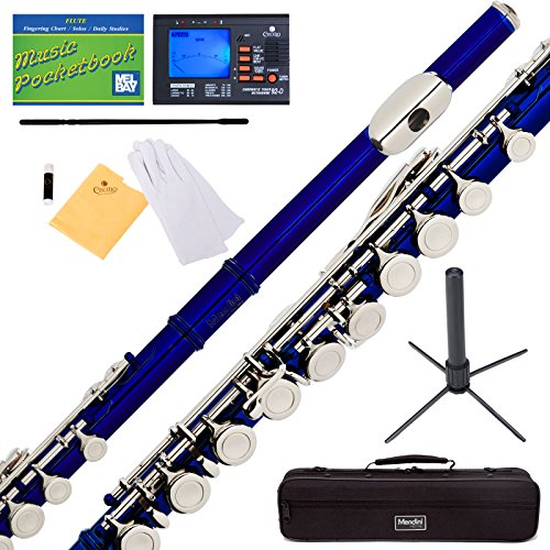 mendini-closed-hole-c-blue-flute-with-tuner-stand-1-year-warranty-case-cleaning-rod-cloth-joint-grea