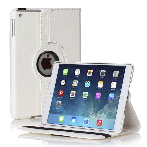 TNP iPad Mini Rotating Case (White) 360 Degree Stand Smart Cover Flip Protective PU Leather For iPad Mini 3, iPad Mini 2 & 1, Multi Viewing Angles, Auto Sleep & Wake Feature & Stylus Holder (Sell Ipad Mini compare prices)