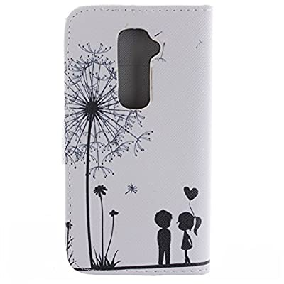 LG G2 Case,LG G2 Wallet Kickstand Case,Tribe-Tiger Stylish Dandelion Witness Love Series Wallet PU Leather Flip Cover Case,[Stand Built-In Card Slots Feature] Flip Folio Case Cover for for LG G2 D800,D801,D802(Dandelion Witness Love) by Tribe-Tiger
