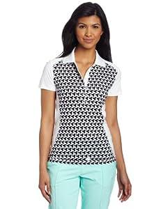 Puma Golf Women's Mini Graphic Polo, White-Black, X-Small