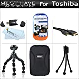 "Must Have Accessory Kit For Toshiba Camileo S30 S20 BW10 HD Pocket Camcorder Includes + Hard Case + 7"" Flexible Tripod + Mini HDMI Cable + USB 2.0 SD Card Reader + LCD Screen Protectors + More"