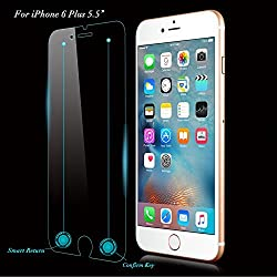 [Newest Innovative Rewarding] QPAU Smart iPhone 6S Plus Tempered Glass Screen Protector with Invisible [Return Key] & [Confirm Key] for Apple iPhone 6/6S Plus 5.5 Inch