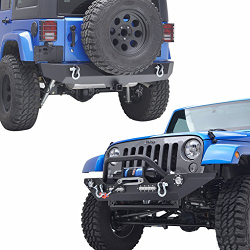 E-Autogrilles-07-16-Jeep-Wrangler-JK-Rock-Crawler-Front-Bumper-with-LED-Lights-Winch-Plate-and-Rear-Bumper-with-2-Hitch-Receiver-Combo-Textured-Black-51-0308L51-0310