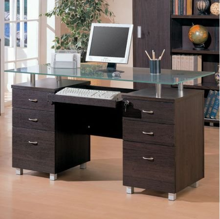 Buy Low Price Comfortable Contemporary Glass Computer Desk – Coaster 800231 (B005LWQ1DC)