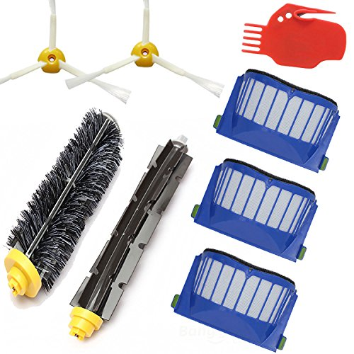 Smartide Kit for irobot Roomba 585 595 600 610 620 630 650 660 Vacuum Cleaner Replacement - Includes 3 Pc Filter, 2pcs 3-arm Side Brush, and 1 Pc Bristle Brush and Flexible Beater Brush, Cleaning Tool (Roomba 650 Brush Cleaning Tool compare prices)