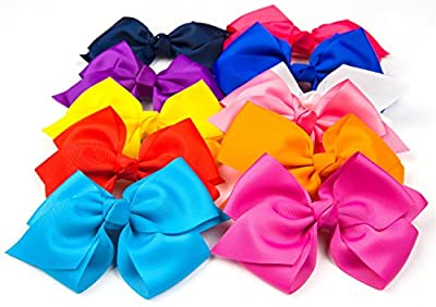 """Bzybel Boutique Little Girl's 6"""" Big Hair Bows Grosgrain Ribbon Bows Hair Clips Barrettes for Keens Kids Toddlers Newborn Headband"""