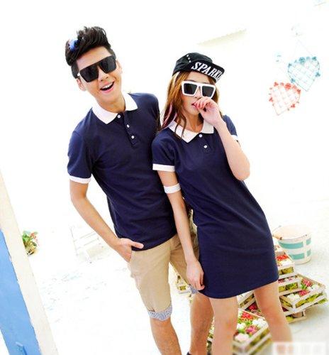 【男女Tシャツ2点】ファッション感たっぷり オシャレなファッション ペアワンピース Tシャツ男カップル ペアルック ペアルックDU030L (女性L+男性XL, サファイブルー)