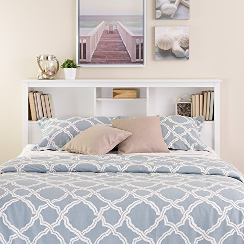 White Full /  Queen Bookcase Headboard (White Queen Bed With Storage compare prices)
