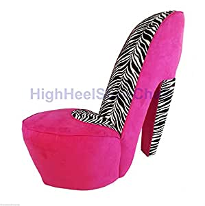 zebra and pink high heel shoe chair