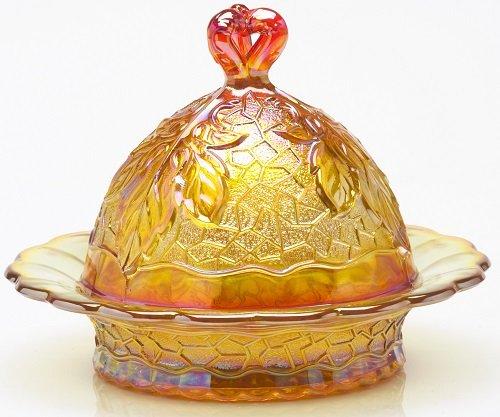 Butterdish - Maple Leaf Pattern Mosser Glass - Marigold Carnival Marigold Carnival Glass
