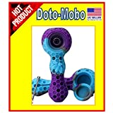 Doto-Mobo Unbreakable Honeycomb Shape Silicone Straw Pipe Cleaner with Lid and Free Decor Bowl Inside - Smoking Hot Deal! (Purple-Sky-Grey) (Color: Purple-sky-grey)