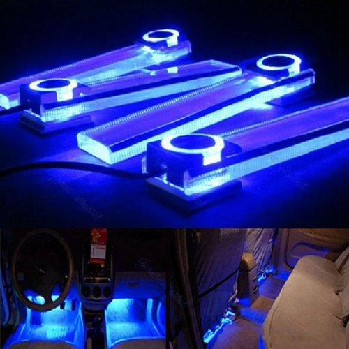 Susenstore 12V 4 In 1 Car Charge Led Interior Decoration Floor Decorative Light Lamp