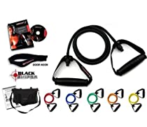 Ripcords Resistance Exercise Bands Black Sniper Edition: 6 bands, Door Anchor, Circuit7 DVD and Manual