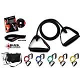 *** LIFETIME REPLACEMENT WARRANTY *** Ripcords Exercise Bands - Black Sniper Edition 6 pack with Circuit 7 DVD, Travel Bag, Door Anchor and Manualby Ripcords