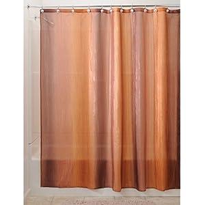 InterDesign Ombre Fabric Shower Curtain 72 X 72 Brown Gold G