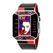 01TheOne Unisex SC113R1 Split Screen Art Edition Red LED Black Leather Watch