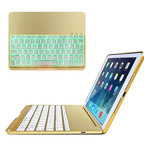 ikodoo iPad air (5)専用 Bluetooth3.0 タブレットキーボード付ケース バックライト ノートパソコンに変身 (シャンパン)