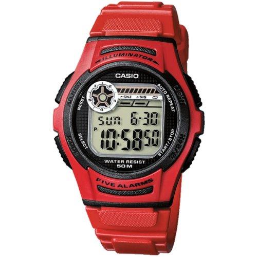 CASIO W-213-4A - Reloj de pulsera, para hombre, color gris y rojo