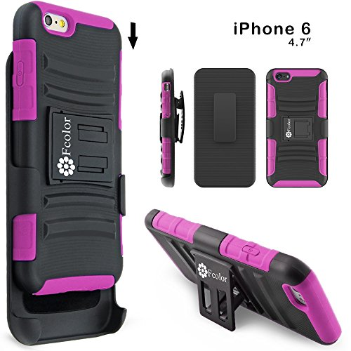 F-color™ iPhone 6 Holster Case with Soft Shock-Absorption Silicone Inner Sleeve & Impact-Resistant Hard Plastic Back Cover and Holster with Belt Clip 3-in-1 Combo Defender Case for iPhone 6 Peach