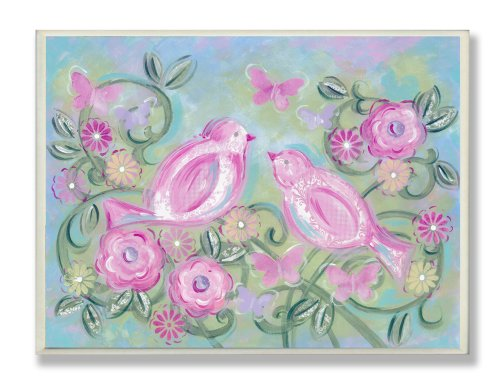 The Kids Room by Stupell Pastel Pink Birds in a Garden Rectangle Wall Plaque