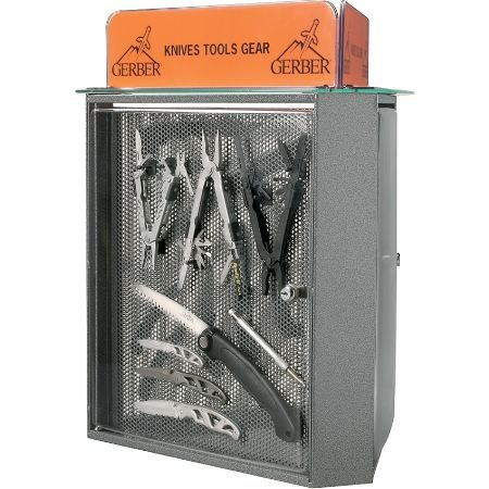 Gerber Knives 104538 Three Sided Countertop Display With Metal, Glass, & Plexiglass Construction