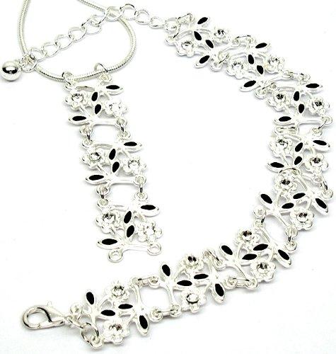 Stylish Flowers Link Fashion Bracelet & Necklace Set