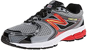 New Balance Men's M680V2 Running Shoe, Silver/Red, 9 D US