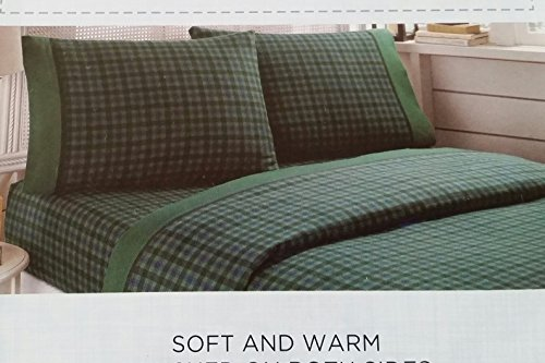 Cannon Flannel 3 Piece Sheet Set Green Plaid Twin front-361616