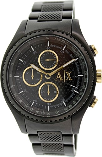 Armani Exchange Chronograph Black Dial Black Ion-Plated Mens Watch Ax1604