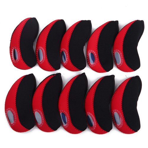 10pc Neoprene Golf Iron Club See Through Window Head Cover Protection Case Set (Red) - for Taylormade, Nike, Callaway, etc. (Taylor Made Driver Set compare prices)