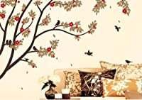 X Large Contemporary Trees Colorful Leaves and Birds Wall Sticker Decal up to 6 Feet by WallStickersUSA