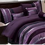 7 PC Modern PURPLE BLACK SILVER Chenille Comforter Set / BED IN A BAG - FULL SIZE BEDDING
