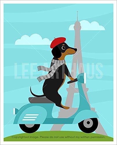 171d-dachshund-dotson-riding-vespa-in-paris-unframed-wall-art-print-by-lee-arthaus